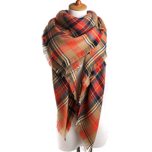 2017 Brand Winter Scarf for Women Soft Cashmere Blanket Warm Fashion Plaid Square Shawl Size 140cm X 140cm Wholesale