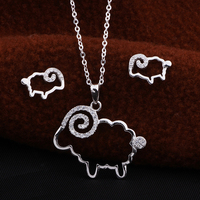 Sterling Silver Necklace Set Sheep Pendant Zodiac Necklace For 24 Years Old
