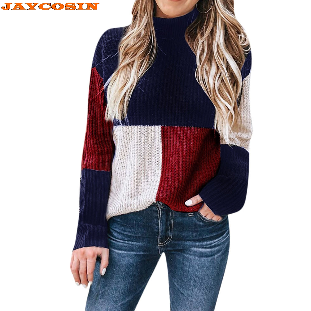 31e65cc0d15bf JAYCOSIN New Fashion Design Women Colorblock Stand Long Sleeve Knitted  Sweater Jumper Pullover Top Blouse High Quality Sweater