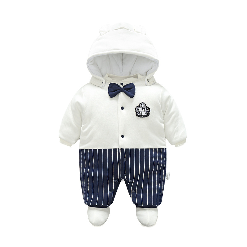 Godier Baby Rompers Winter Jumpsuit Fleece Cotton Boys Clothes Warm Newborn Baby Infant Girls Hooded Striped Costumes with Shoes