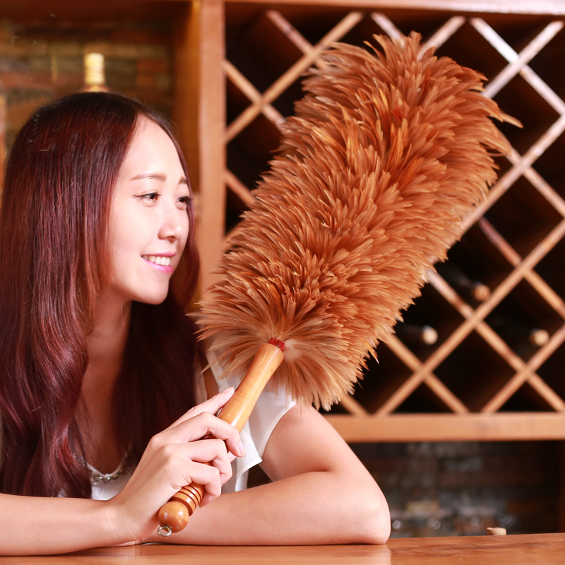 68cm Chicken Feather Dusters Household Dust Removal Duster for Cleaning Book Cases, Furniture, Sofas, TV, Cars, Coo