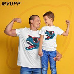Dinossauro legal olhar família mãe filha roupas pai filho combinando roupas papai mamãe bebê moda mãe e me roupas mamãe