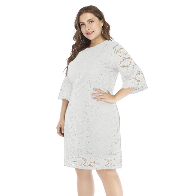 f9fd8335fc 2019 Floral Embroidery Mesh Lace Dress Spring Summer Flare Sleeve Women Vintage  Lace Black Beach Dress