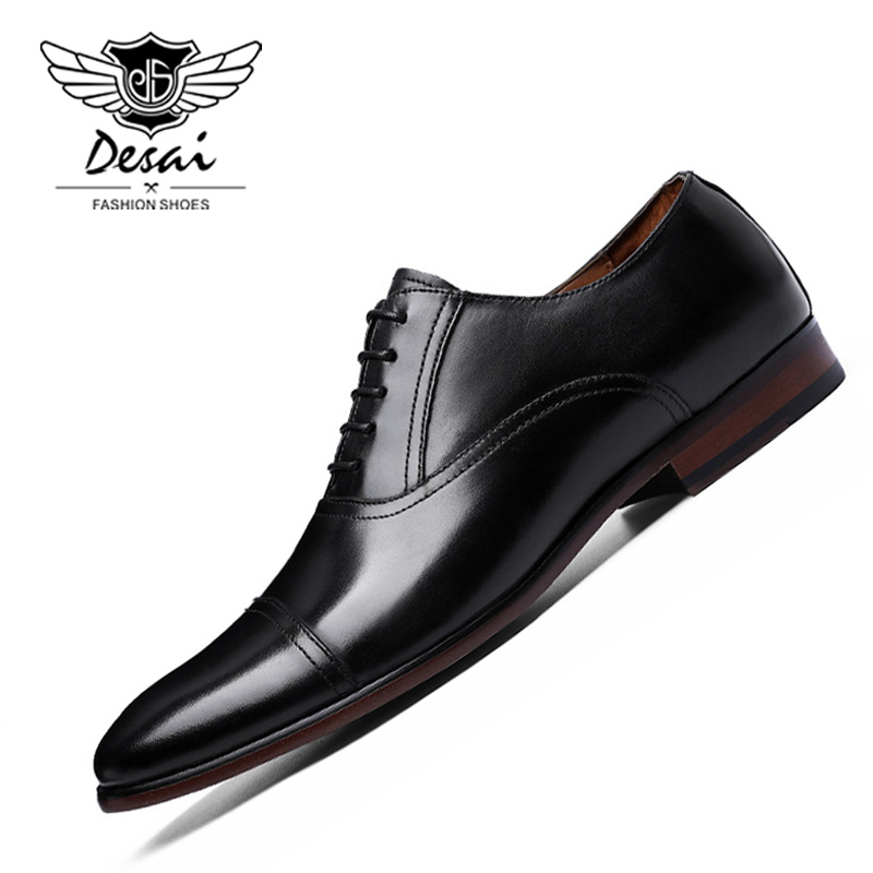 DESAI Brand Full Grain Leather Business Dress Shoes Men Retro Patent Genuine Leather Oxford Shoes for