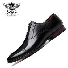 DESAI Brand Full Grain Leather Business Dress Shoes Men Retro Patent Genuine Oxford for EUR Size 38-47