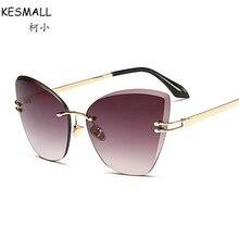 Kesmall 2017 Солнцезащитные очки для женщин Человек Для женщин алмазные объектив Брендовая Дизайнерская обувь Модные оттенки кошачий глаз Защита от солнца Очки lentes-де-сол YL180