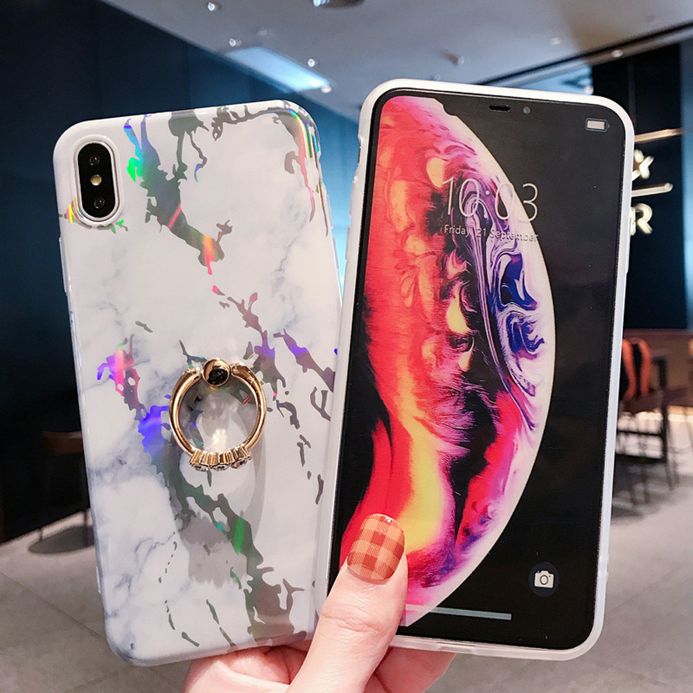 Image 5 - Heyytle Laser Marble Case For iPhone 7 8 Plus 6 6s Ring Holder Cases For iPhone X XS MAX XR Soft TPU Cover Colorful Stand Coque-in Fitted Cases from Cellphones & Telecommunications