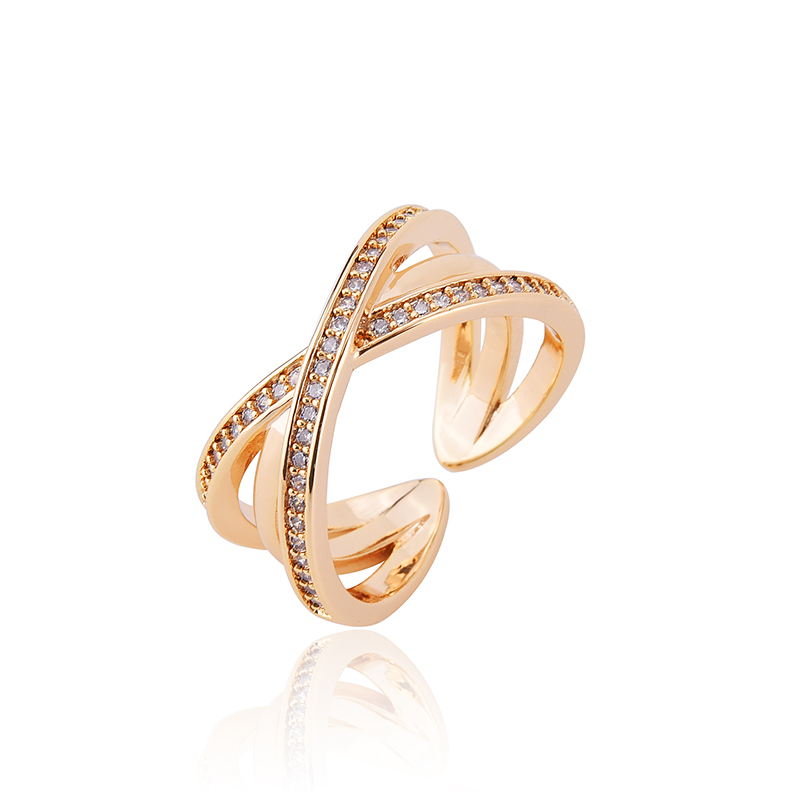 YANDA 2018 New Design Open Rings For Women Fashion Simple Charm Adjustable CZ Crystal Cross Finger Ring Wedding Jewelry Anel