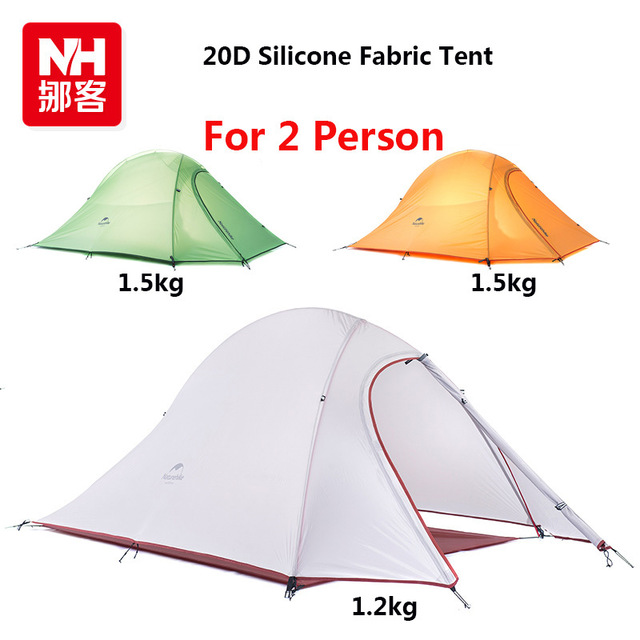 naturehike 1.24kg 2 Person 20D Silicone Fabric Tent Double-layer Tourist Camping Tent dhl free shipping 2 person naturehike tent 20d silicone fabric double layer camping tent lightweight only 1 24kg nh