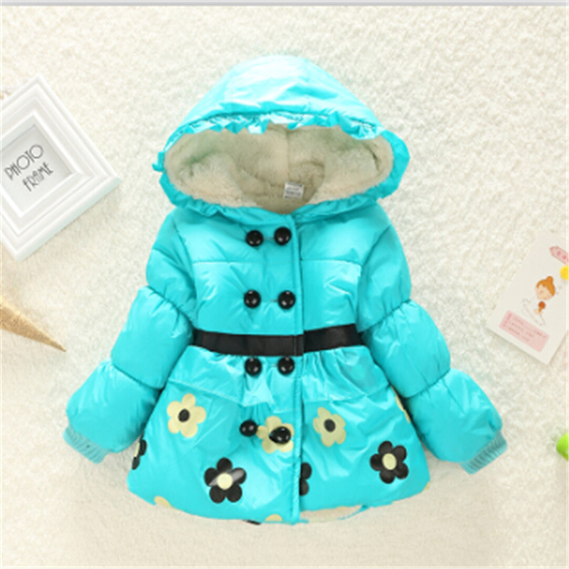 Sells children s clothing cartoon winter coat girls upset flower pattern winter jacket size 2 4