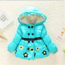 Продает детская одежда мультфильм зимние пальто для девочек расстроен цветочным узором зимняя куртка размер 2 — 4 лет