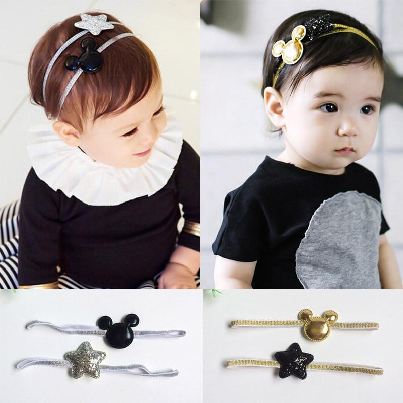 2Pcs Mickey Ear Star Glitter Baby Headband Elastic Baby Hair Band Shining Hairbands Kids Girls Hair Accessories Baby Headwear