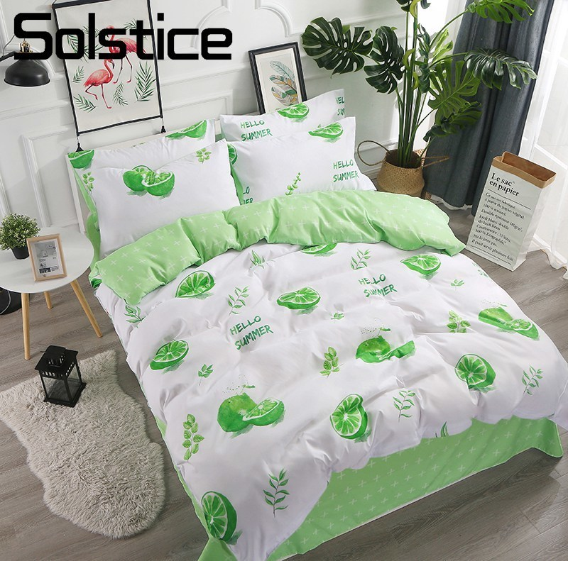 Solstice Home Textile King Queen Twin Bedding Sets Girls Kid Teen Bed Linens Green Lemon White Duvet Cover Pillowcase Flat Sheet