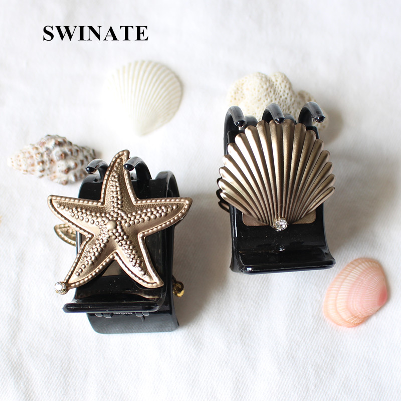 Women Girls Personality Shell Starfish Shape Hair Claws Black Acrylic Hair Clips Clamps Simple Hair Barrettes