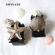 Женщины Девушки Личности Shell Морская Звезда Форма Волос Когти Черные Акриловые Волосы Зажимы Простой Заколки Для Подарок К Празднику