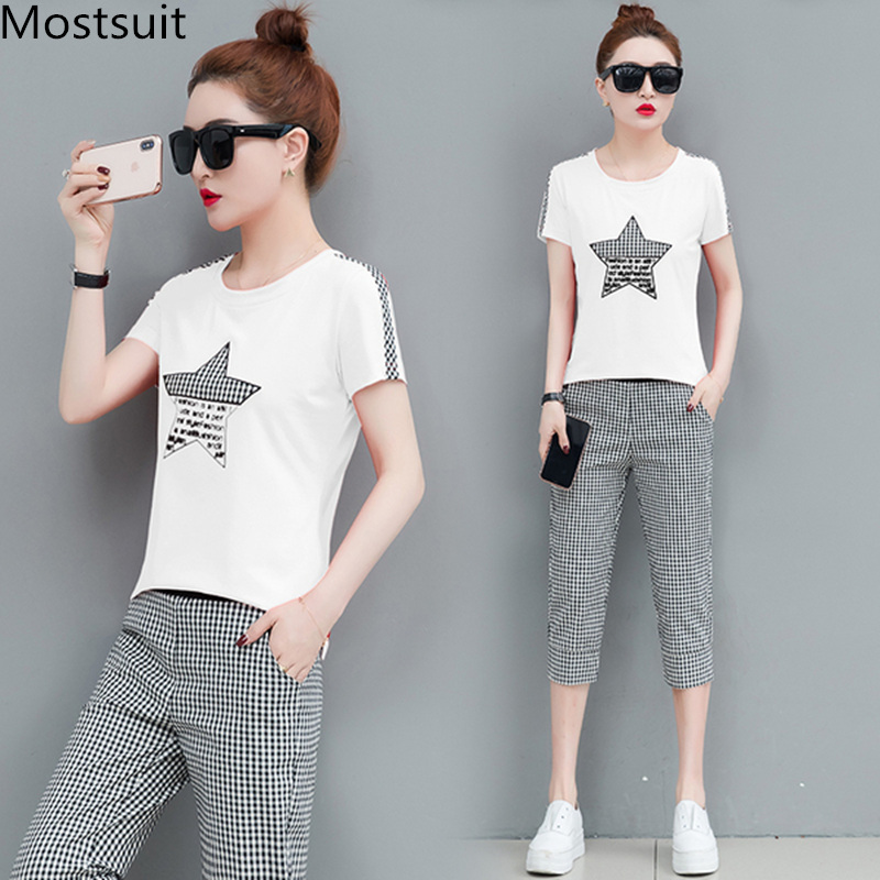 2019 Summer 2 Piece Sets Tracksuits Women Plus Size Short Sleeve T-shirts And Plaid Cropped Pants Casual Fashion Sport Suits