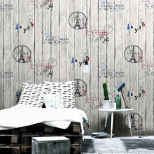 Retro Nostalgic Imitation Wood Grain Wallpaper Fashion Hairdressing Clothing Store Womens Hair Salon Wall Paper