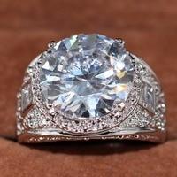 15ct потрясающий кольцо для Для мужчин Голубь яйцо Роскошные ювелирные изделия из белого золота Заполненные Круглый Cut Ясно Большой Кубическ