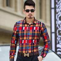 Shirts Men 2017 Autumn Plaid Long Sleeve Various Style Casual Fashion Shirts Plus Size 7xl 6xl