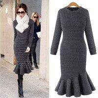 Suit dress Temperament Self cultivation Long Sleeve Dress Fish Tail Longuette Cotton