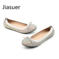 Jiasuer Lente Zomer pailletten enkele boog ronde kop platte schoenen voor vrouwen schoenen lichter comfortabele grote werven casual schoenen