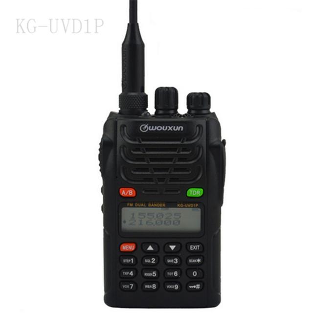 2016 nueva wouxun kg-uvd1p radio de dos vías de banda dual display 128ch walkie talkie uv-d1p 136-174/400-480 mhz