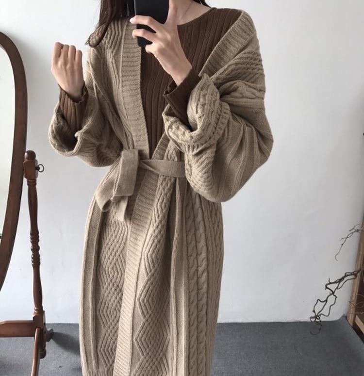 De Manteau Les Kaki Chanvre Chandail 5159 Femmes Taille D'hiver Mère Et Chute Chaud 2018 Pour style Fermeture Nouvelle Longue Épais EDIH29