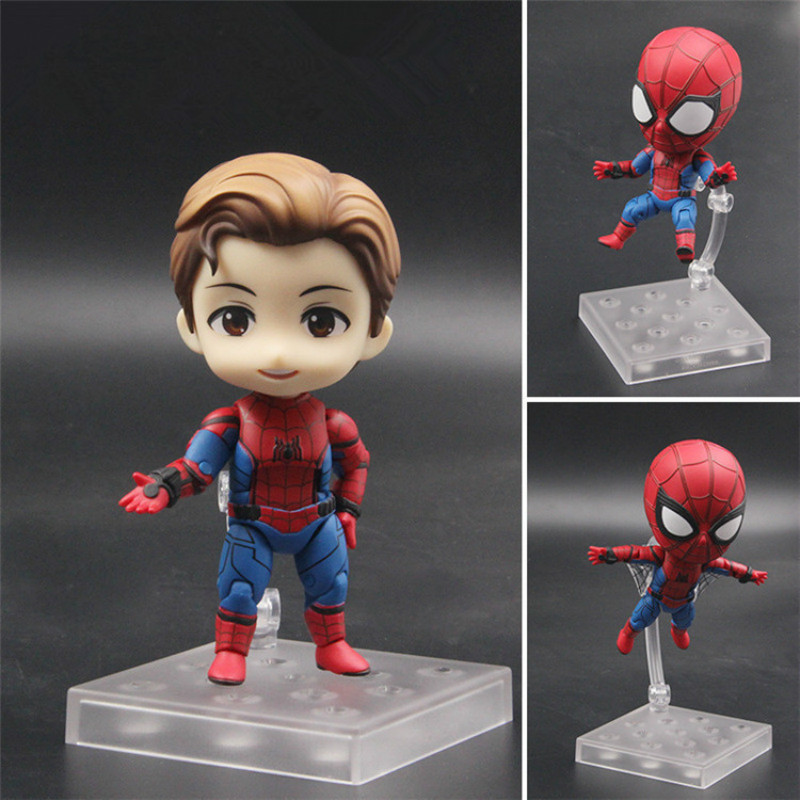 Anime Avengers Nendoroid 781 Cute Spiderman Kawaii Spider Man Homecoming Infinite War 10cm Action Figure Toys