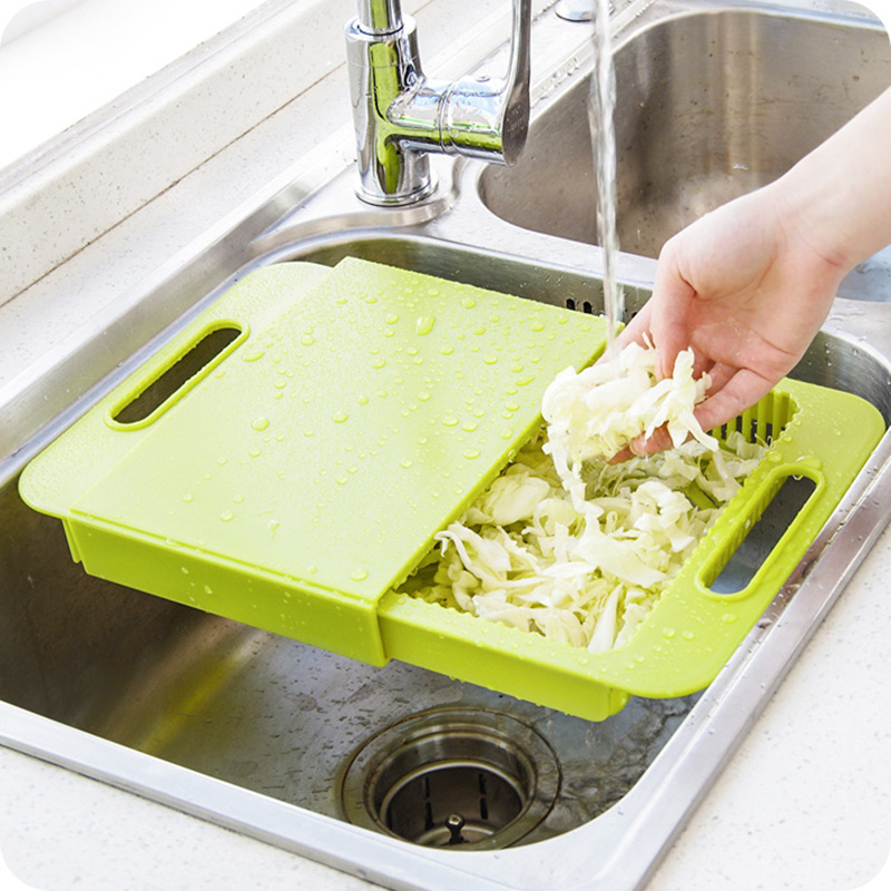 US $19.75 10% OFF High quality Kitchen sink cutting boards Wash the dishes  to wash cut with the drain basket Chopping block,kitchen supplies.-in ...