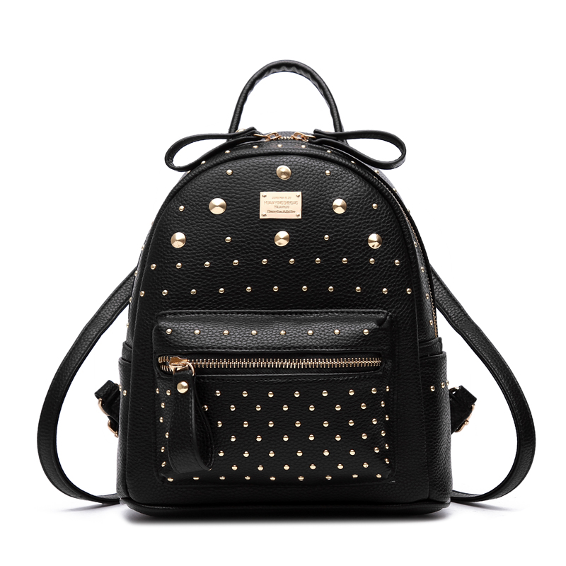 New rivet women backpack preppy style black PU leather school bags retro vintage backpacks students female travel bag