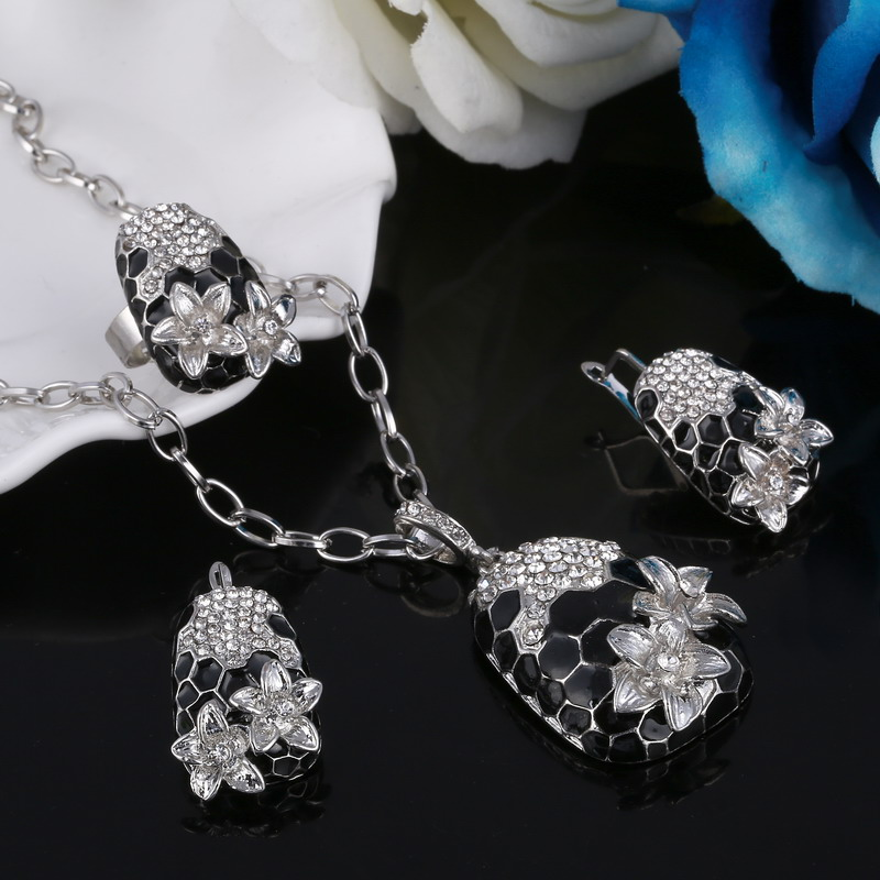 Flower-Necklaces Bridal-Jewelry-Sets Earring/ring-Bijoux-Set Silver-Plated Brand Big-Sale