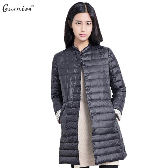 Gamiss/осенние женские высокие Легкие куртки Пальто шик воротника с длинным рукавом Однобортный одноцветное Цвет женщины ватник Парки