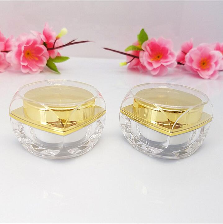 Free Shipping 5ml 10ml Golden Acrylic-Based Resin Lucifugal Empty Bottle jar Slap-up Eye Gel Cream Empty Cosmetic Containers