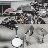 JXLCLYL 1 Pair Chrome Round Bar End Rearview Side Mirror Adjustable For Cafe Racer