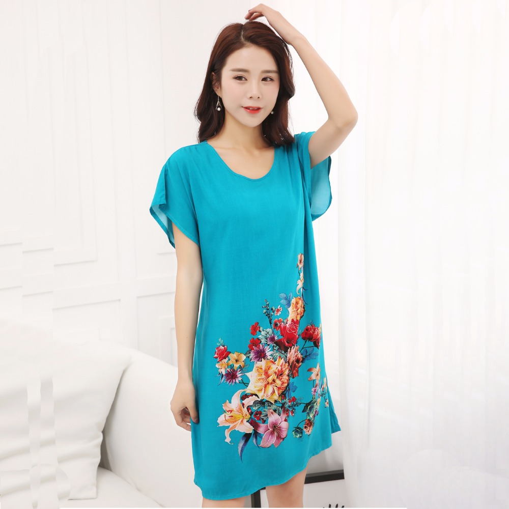 Popular Ladies Cotton Night Dresses Sleepwear-Buy Cheap Ladies ...