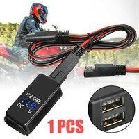 Carregador Dual USB Para O Telefone Inteligente Tablet GPS SAE Para Adaptador USB com Voltímetro Motocicleta Quick Disconnect Plug À Prova D' Água com