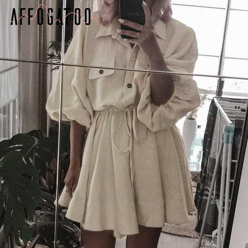 Afogafoo винтажное женское мини-платье-рубашка, повседневный с рукавом-фонариком, короткое платье, отложной воротник, кружевные льняные женские платья