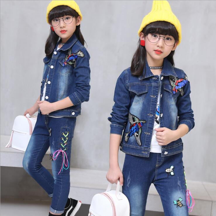 2018 New Fashion Clothing Kids Cowboy Suit Children girls Sports Denim Clothes girls eagle embroidery Jacket +T-shirt+ Pants