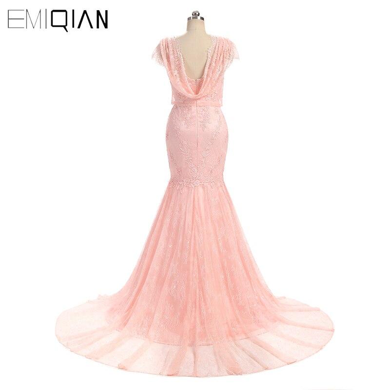 Elegante Rosa vestido de novia sirena Cap manga vestidos de novia ...