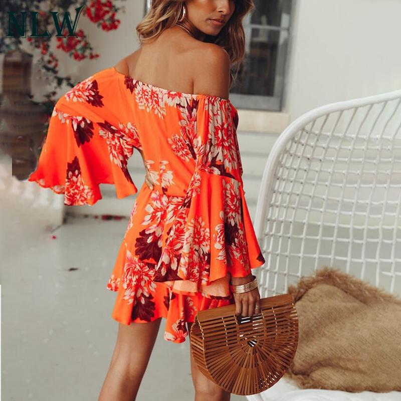 NLW Boho Off Shoulder Women Palysuit Floral Beach Summer Short Jumpsuit Romper 2019 Flare Sleeve Sexy Casual Playsuit