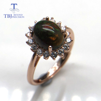 Multi color Black opal ring natural gemstone oval 7*9mm 925 sterling silver ring simple style fashion jewelry for girl nice gift