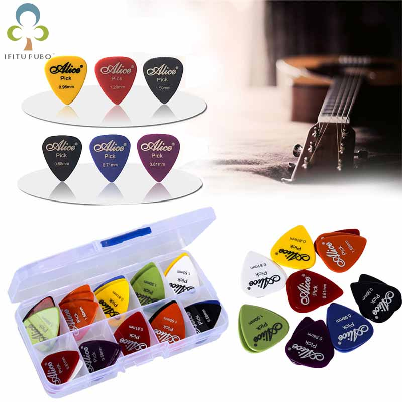 50pcs guitar picks 1 box case Alice acoustic electric guitar accessories musical instrument thickness mix 0.58-1.5 New Design taza de m&m