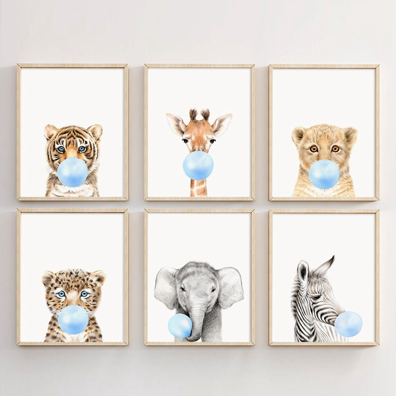 Wild Animal Blowing Bubble Gum Wall Art Prints Poster , Lion Zebra Elephant Giraffe Tiger Canvas Painting Kids Wall Pictures