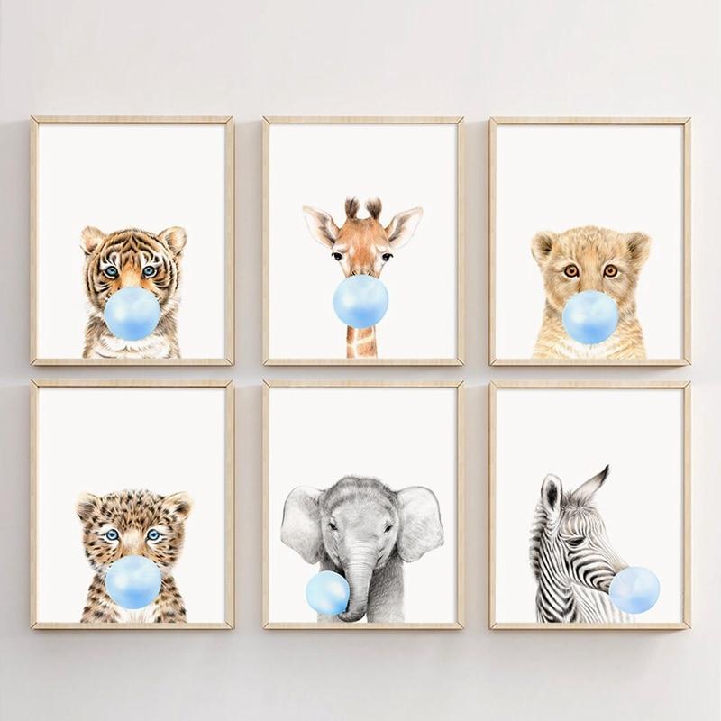 Диких животных дует жевательная резинка Wall Art Печать плакатов, Лев, Зебра, слона, жирафа и картина тигр на холсте дети стены фотографии