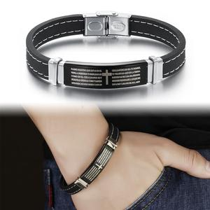 Image 3 - OBSEDE Punk Stainless Steel Leather Bracelet The Lords Prayer Bible Letter Cross Silicone For Men Gift