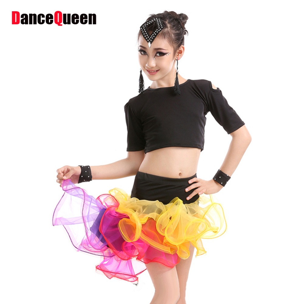 2017 Children Girl Latin Dance Dress 5pcs(Tops&Skirt&Headwear&Earring&Bracelet) Kids Belly Dance Costumes Sexy Tango Dresses