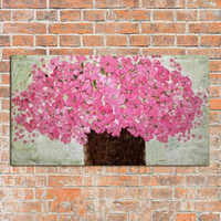 Large Modern Handpainted Abstract Knife Pink Flowers Oil Painting Handmade Floral Paintings On Canvas Wall Decor