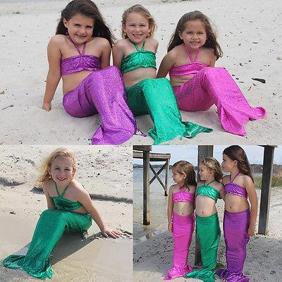 Cute Kids Girls Children Mermaid Tail Swimmable Bikini Set Swimwear  Swimsuit Swimming New Beachwear Bathing 3 Piece Suits 30be8198a3d