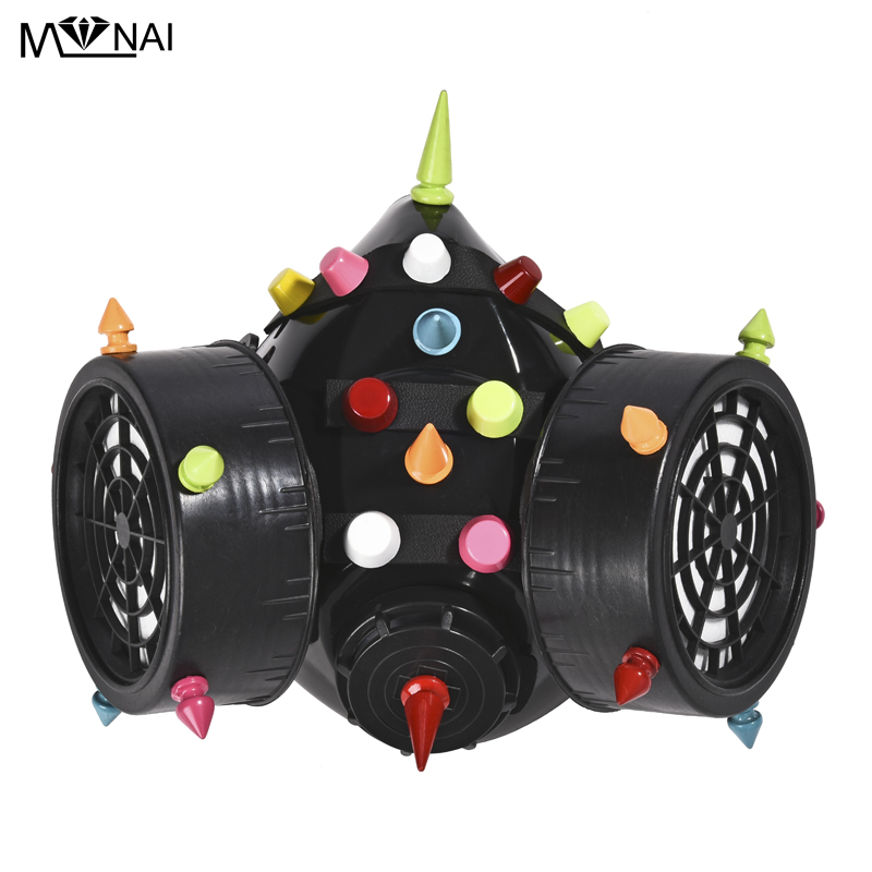 Image 4 - Punk Multi color Rivets Goggles Face Dust Gas Mask Steampunk  Costumes Colorful Spikes Glasses with Mask Set Party HalloweenBoys  Costume Accessories