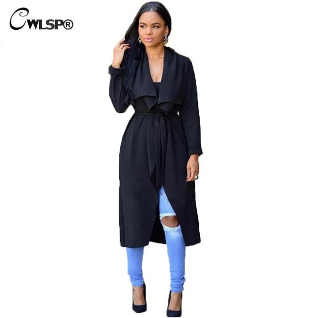 Turn Down Collar Belt Black Gray Long Trench Coat for Women European Style  Autumn Winter Outwear 1c0105b5ce0d